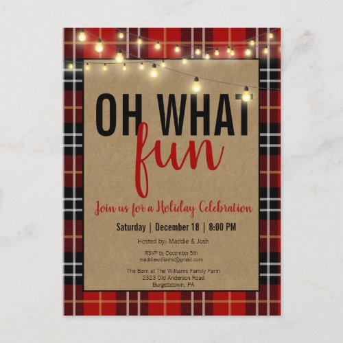 Black  Red Plaid Check Fun Holiday Party Invite