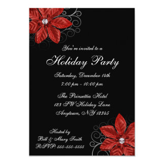 Black Red Poinsettia Swirls Holiday Party 5x7 Paper Invitation Card