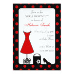 black & red polka dot bachelorette party custom invitations
