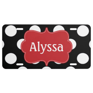 Black Red Polka Dots Personalized License Plate