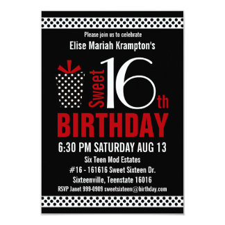 Black Red Polkadots Sweet 16 Birthday Card