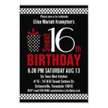 "Black Red Polkadots Sweet 16 Birthday 3.5"" X 5"" Invitation Card"