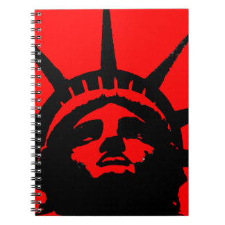 Black Red Pop Art Statue of Liberty Notebook