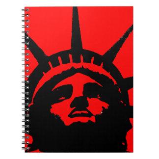 Black Red Pop Art Statue of Liberty Notebook