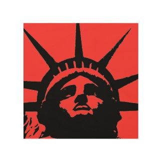 Black Red Pop Art Statue of Liberty Wood Canvas Wood Wall Art