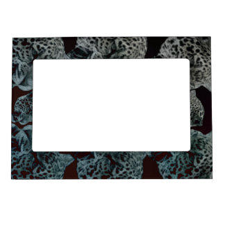 Black Red Psychedelic Leopard Heads Magnetic Picture Frame