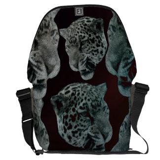 Black Red Psychedelic Leopard Heads Messenger Bag