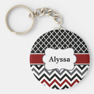 Black Red Quatrefoil Chevron Personalized Keychain