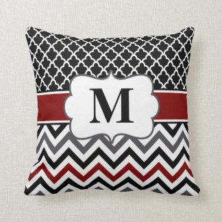 Black Red Quatrefoil Chevron Throw Pillow