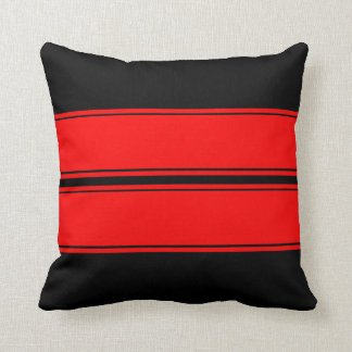 Black Red Race Stripes Add Text Throw Pillow