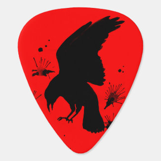Black red raven nevermore guitar pick