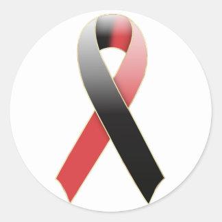 Black & Red Ribbon Awareness Sticker