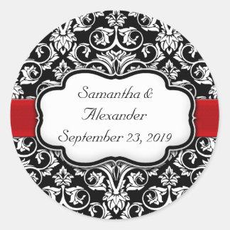 Black/Red Ribbon Damask Wedding Envelope Seal Classic Round Sticker