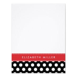 Black & Red Ribbon Polka Dots Monogram Note Card