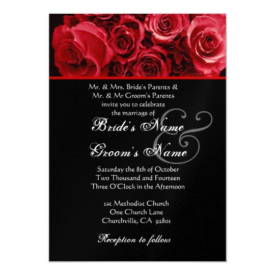 black red rose bouquet wedding metallic paper invitation