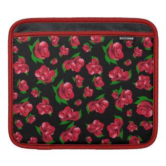 Black & Red Rose Pattern ipad case iPad Sleeves