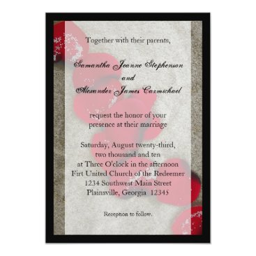Beach Themed Black/ Red Rose Petals Beach Wedding Invitations