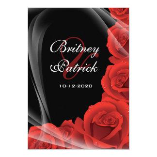 Black & Red Rose Wedding Invitations