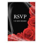 Black & Red Rose Wedding RSVP Response Cards Custom Invitation