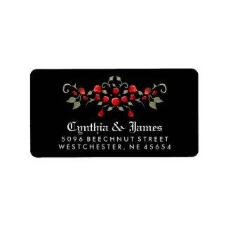 Black & Red Roses Black Matching Wedding Address