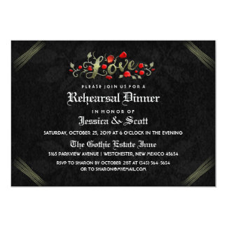 Black & Red Roses Gothic Wedding Rehearsal Invite