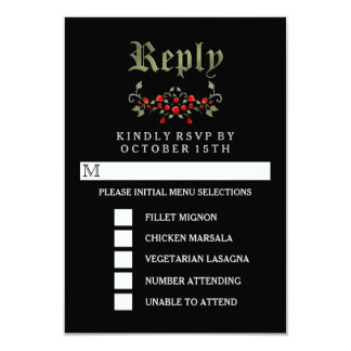 Black & Red Roses Halloween Gothic MENU RSVP Card