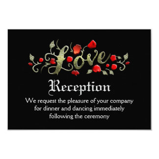 Black & Red Roses LOVE Matching Wedding Reception Card