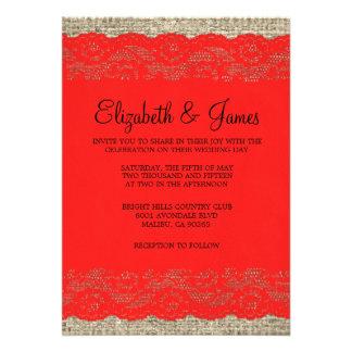 Black Red Rustic Lace Wedding Invitations Personalized Invitation