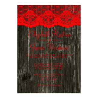 Black Red Rustic Lace Wood Wedding Invitations Personalized Invites