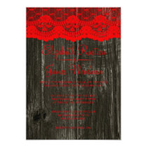 Black Red Rustic Lace & Wood Wedding Invitations