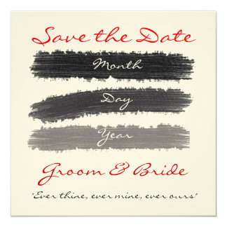 "Black & Red Save the Dates 5.25"" Square Invitation Card"