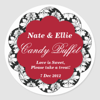 Black & red Scallop Damask Candy Buffet Sticker