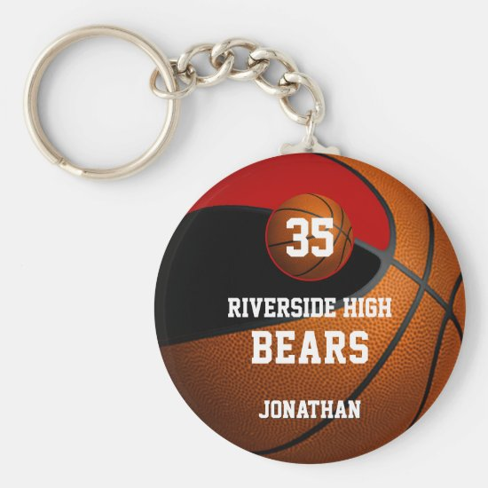 Black red school colors boys' basketball team keychain