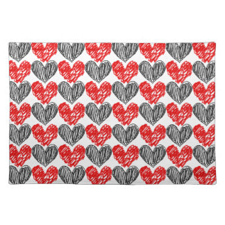 Black & Red Scribble Hearts Cloth Placemat