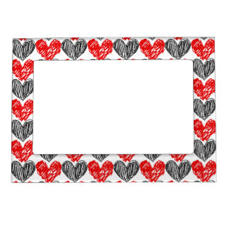 Black & Red Scribble Hearts Magnetic Picture Frame
