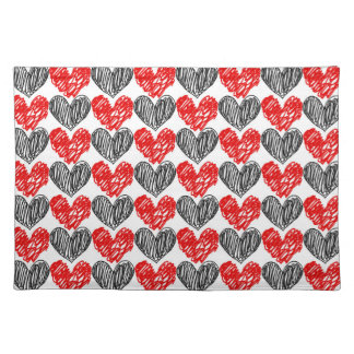 Black & Red Scribble Hearts Placemat