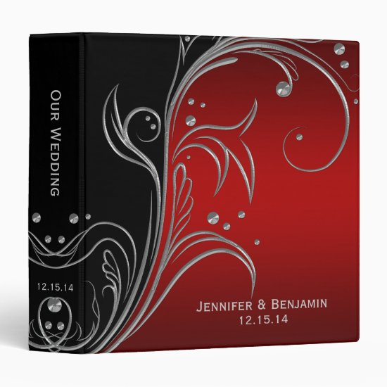Black Red Silver Floral Scrolls Photo Album 3 Ring Binder
