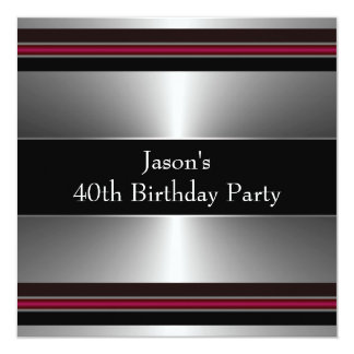 Black Red Silver Mans 40th Birthday Party Card