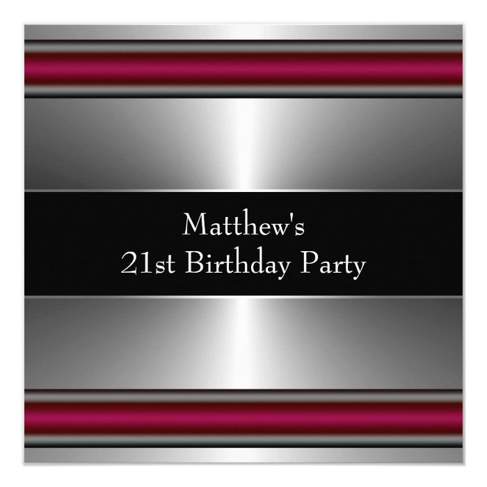Black Red Silver Mens Birthday Party Card
