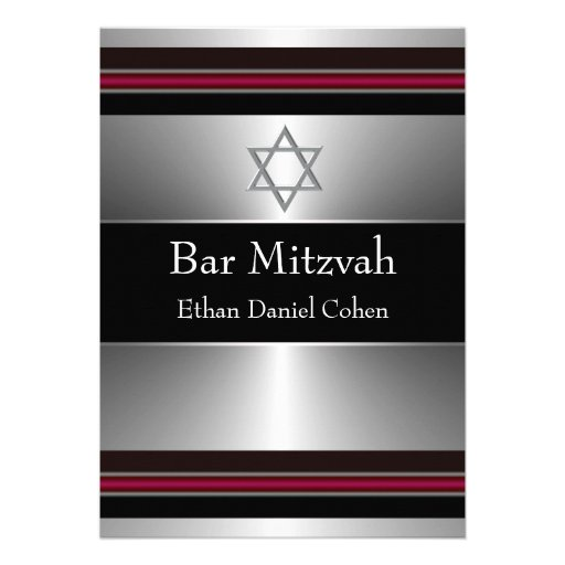 Black Red Silver Star of David Bar Mitzvah Custom Invite