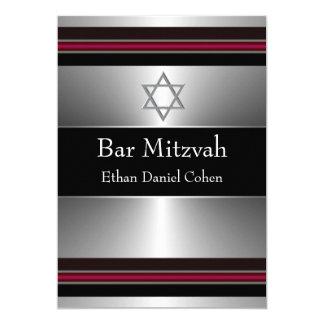 Black Red Silver Star of David Bar Mitzvah 5x7 Paper Invitation Card
