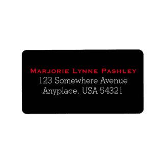 Black Red Simple Plain Address Labels
