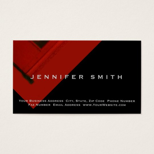 Black Red Simple Plain Business Card
