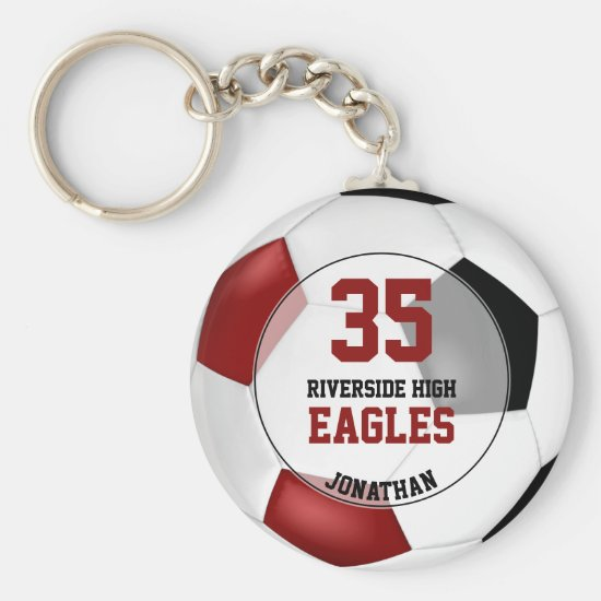black red simple soccer ball boys' team spirit keychain