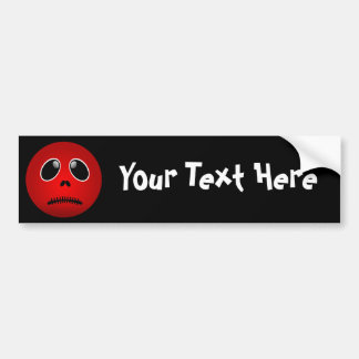 Black & Red Smiley Face, Stitched Frown Car Bumper Sticker