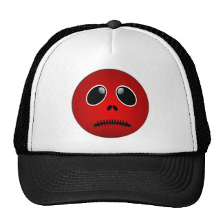Black & Red Smiley Face, Stitched Frown Mesh Hats