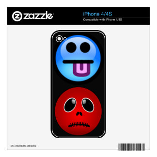 Black & Red Smiley Face, Stitched Frown iPhone 4S Decals