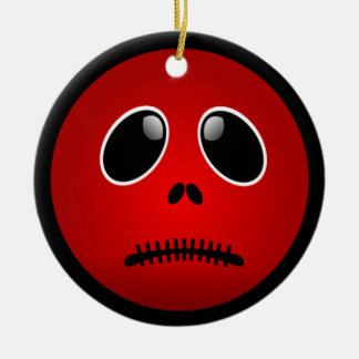 Black & Red Smiley Face, Stitched Frown Christmas Tree Ornament