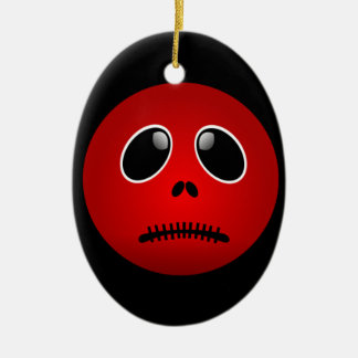 Black & Red Smiley Face, Stitched Frown Christmas Ornaments