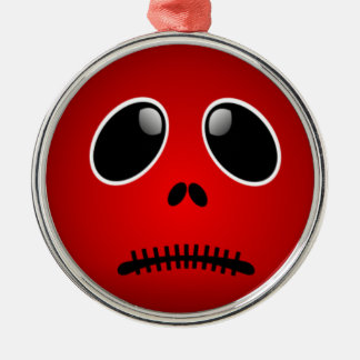 Black & Red Smiley Face, Stitched Frown Ornaments